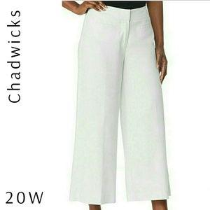 Crop Linen Lined Wide Leg Pants 20W
